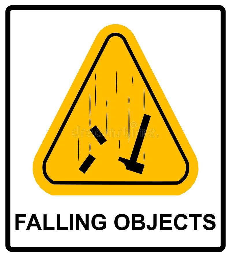 Gevaars Dalend Objecten Waarschuwingsbord Vector illustratie stock illustratie