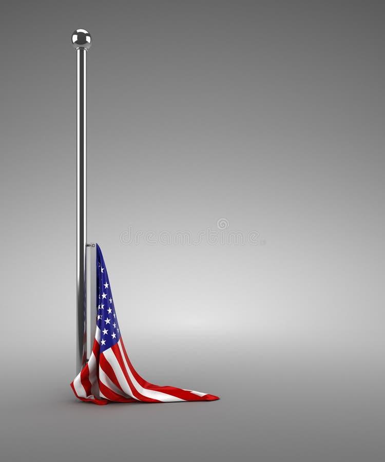 Gevallen Amerikaanse vlag stock illustratie