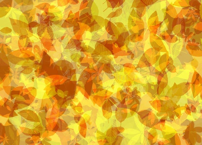 Gevallen Bladeren in Autumn Abstract Painting Background in Geeloranje Kleur vector illustratie