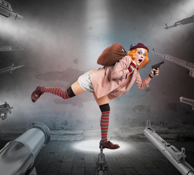 Gevangen clown stock foto