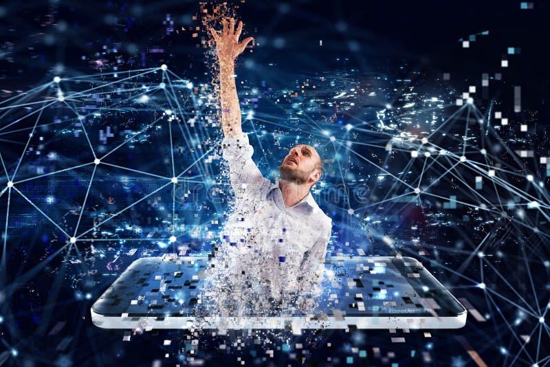 Gevangen zakenman van Internet-technologie Concept Internet-verslaving royalty-vrije stock fotografie