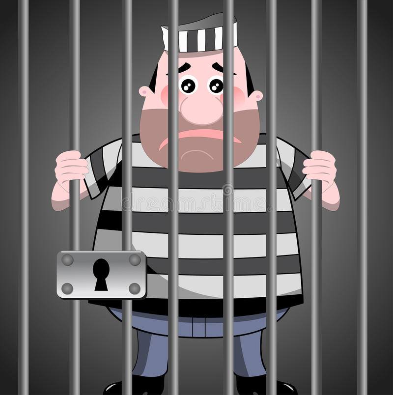 Gevangene achter staven stock illustratie