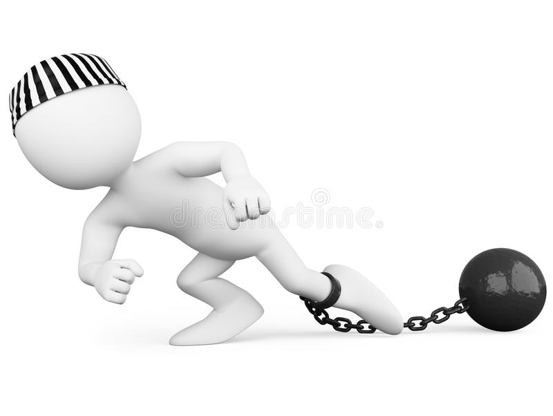 Gevangene die een zware bal sleept royalty-vrije illustratie