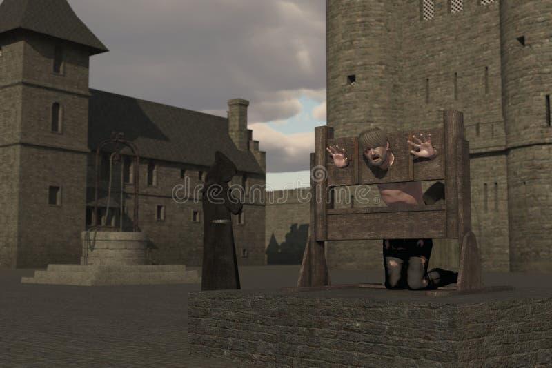 Gevangene in pillory in kasteelbinnenplaats vector illustratie