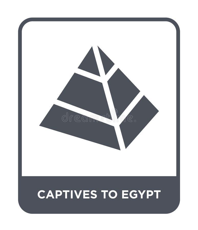 gevangenen aan het pictogram van Egypte in in ontwerpstijl gevangenen aan het pictogram van Egypte op witte achtergrond worden ge vector illustratie