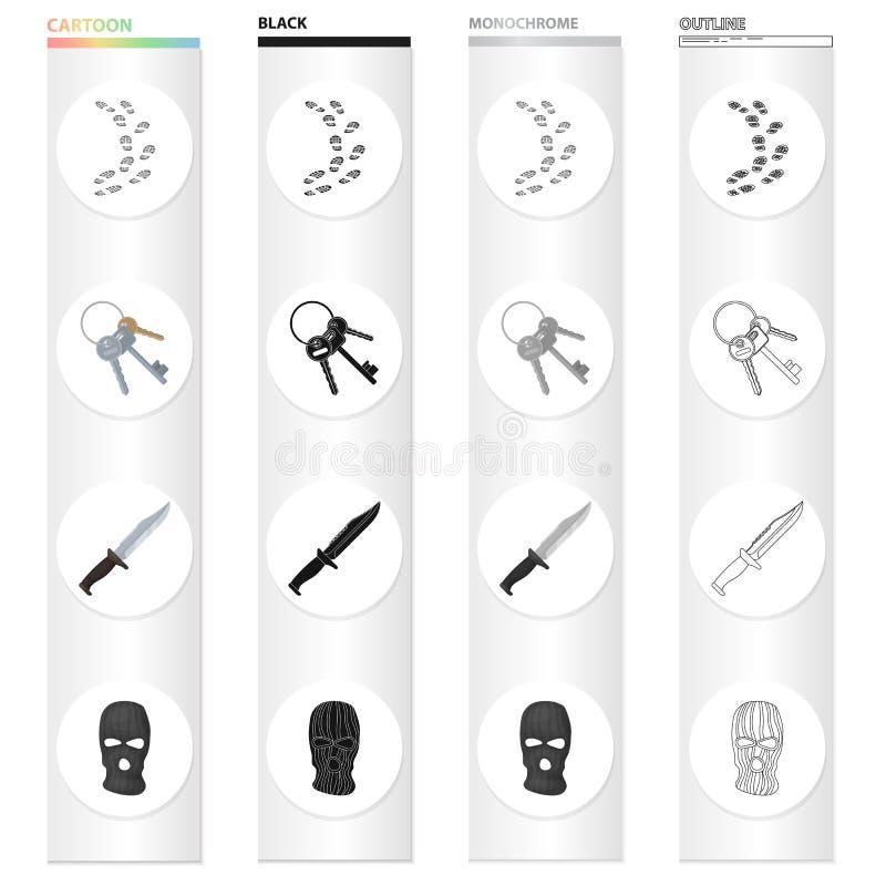 Gevangenis en de misdadige pictogrammen van het beeldverhaal zwarte zwart-wit overzicht in vastgestelde inzameling voor ontwerp G royalty-vrije illustratie