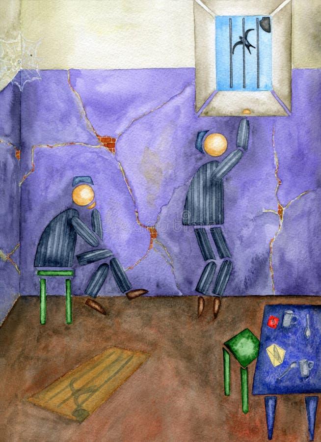 Gevangenis en vrijheid. vector illustratie