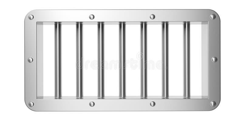 Gevangenis, gevangenisvenster met industriële die zilverstaven op witte achtergrond worden geïsoleerd 3D Illustratie vector illustratie