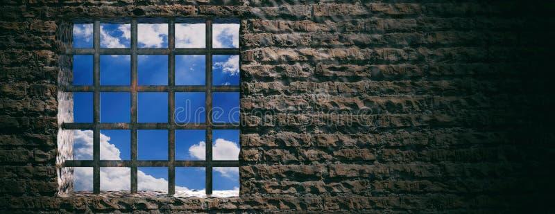 Gevangenis, gevangenisvenster met roestige bars en blauwe hemelmening over bakstenen muurachtergrond banner, exemplaarruimte 3D I vector illustratie