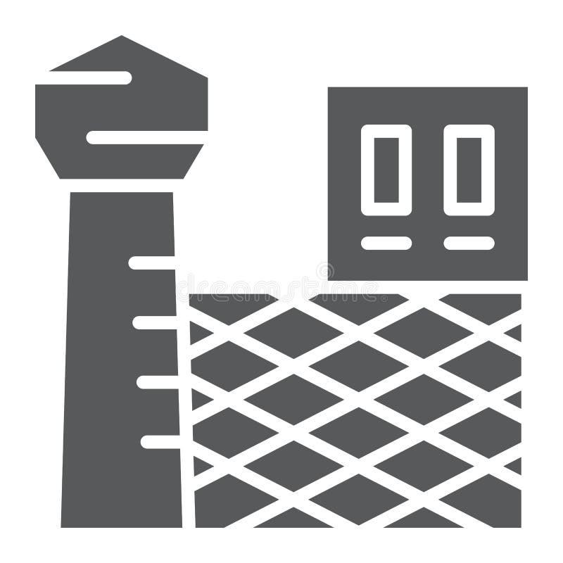 Gevangenis glyph pictogram, de bouw en veiligheid, gevangenisteken, vectorafbeeldingen, een stevig patroon op een witte achtergro royalty-vrije illustratie