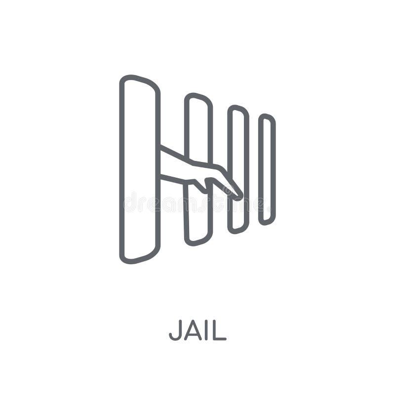 Gevangenis lineair pictogram Modern het embleemconcept van de overzichtsgevangenis op witte rug vector illustratie