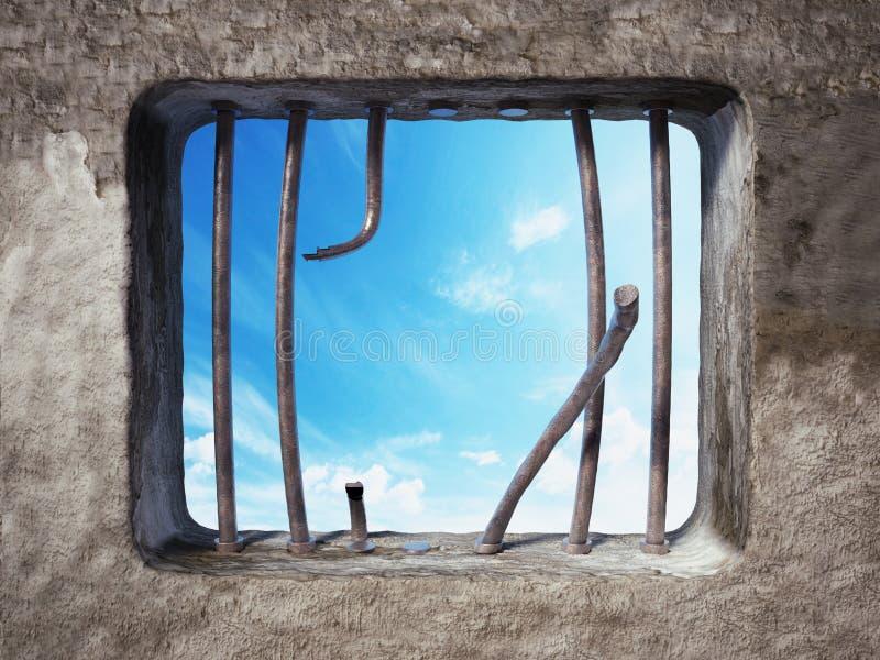 Gevangeniscel met gebroken gevangenisbars op het venster 3D Illustratie stock illustratie