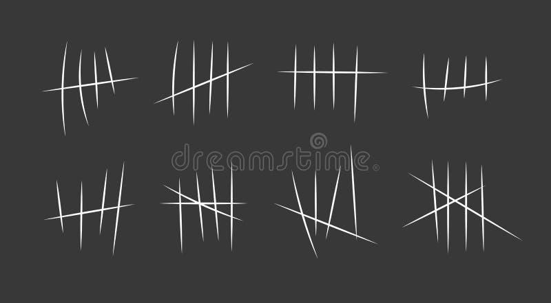 Gevangenissymbolen, de tekens van de Gevangenisaantekening _hand trekken lijn of stok, slag sorteren door vier en kruisen uit Vec stock illustratie