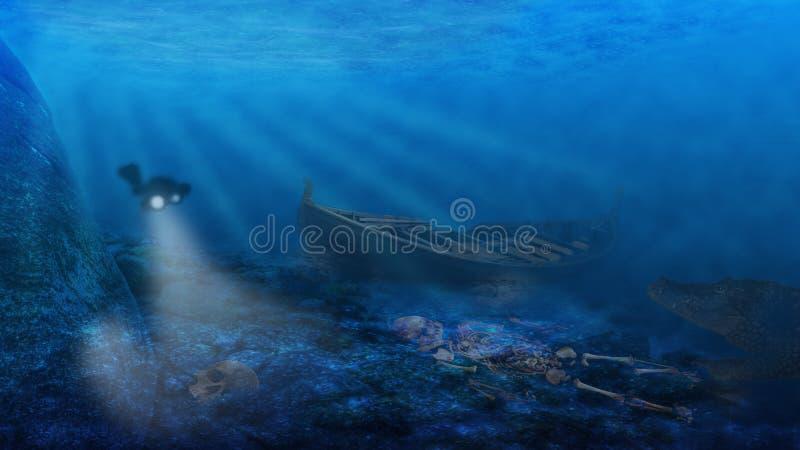 Gevaren onderwater royalty-vrije stock afbeeldingen