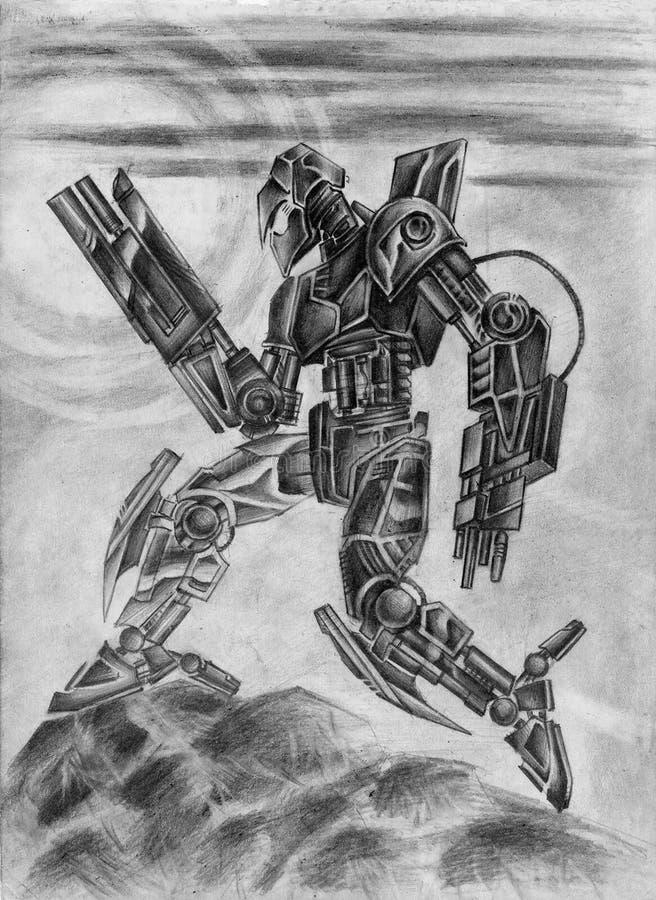 Gevechts zwarte robot Science fictionillustratie vector illustratie