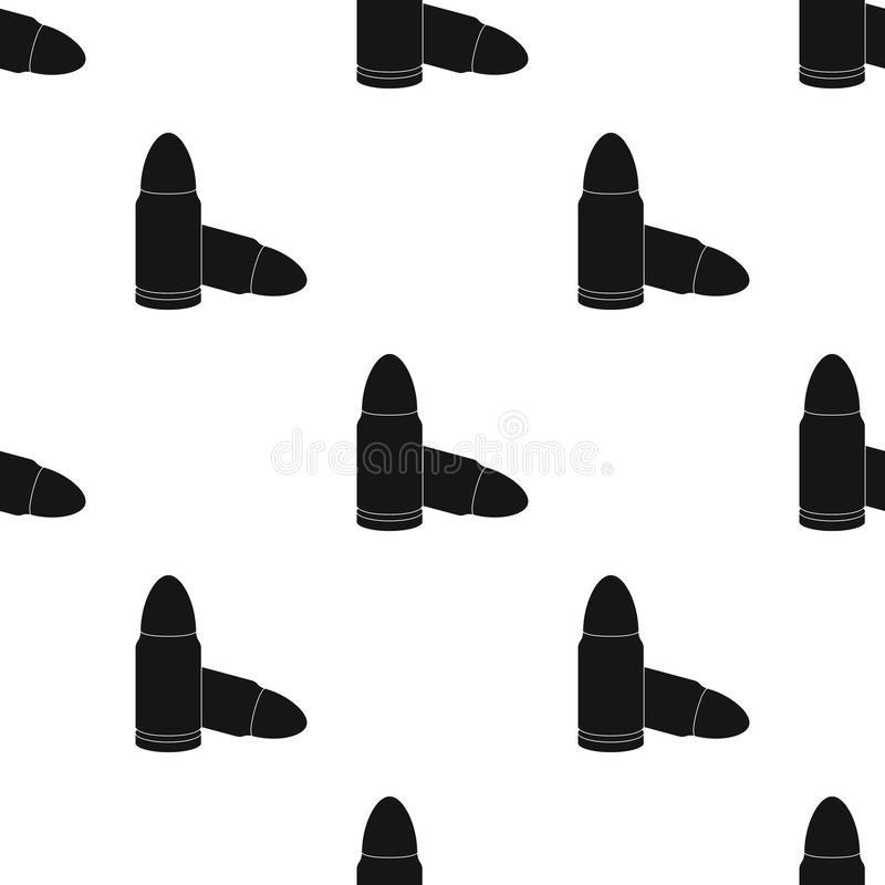 Gevechtskogels en patronen van misdadigers Uitrusting voor diefstal Gevangenis enig pictogram in de zwarte voorraad van het stijl vector illustratie
