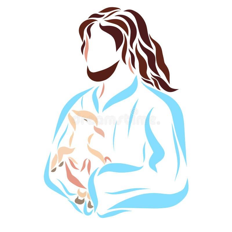 Gevend Lord Jesus houdt een klein lam in zijn wapens royalty-vrije illustratie