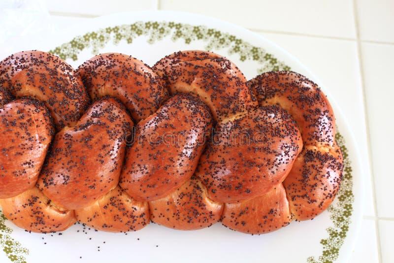 Gevlecht Challah-Brood met Poppy Seeds stock foto