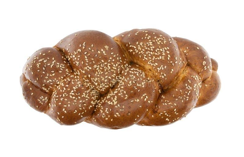 Gevlecht die brood met sesamzaden op witte achtergrond worden geïsoleerd Aan stock fotografie
