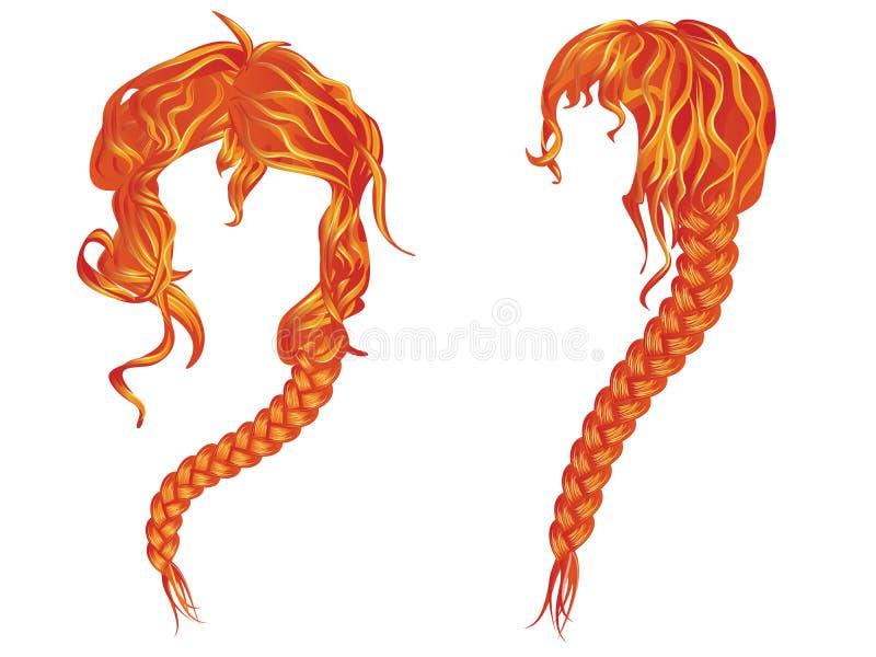 Gevlecht golvend rood haar vector illustratie