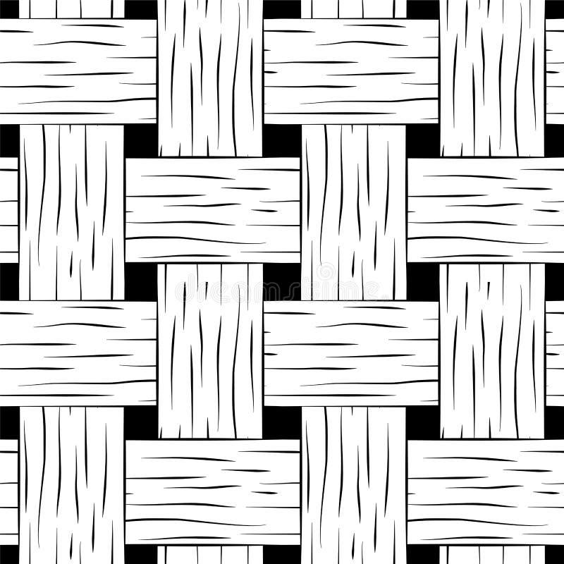 Gevlecht naadloos patroon Het zwart-witte vierkante beeld van de mandtextuur voor achtergrond royalty-vrije illustratie