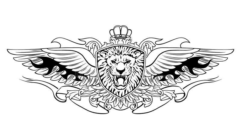 Gevleugeld Brullend Lion Shield Insignia vector illustratie