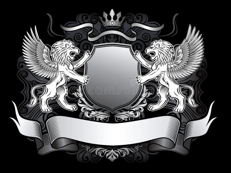 Gevleugeld Leeuwen en Schild Gerb royalty-vrije illustratie