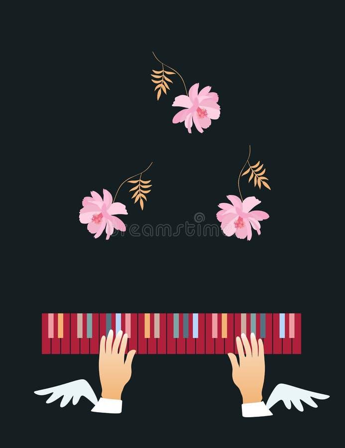 Gevleugeld overhandigt multi-colored pianosleutels en dalende zachte roze die bloemen op een zwarte achtergrond worden geïsoleerd vector illustratie