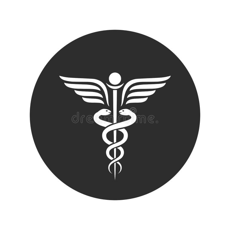 Gevleugeld slangen oud medisch vectorsymbool royalty-vrije illustratie