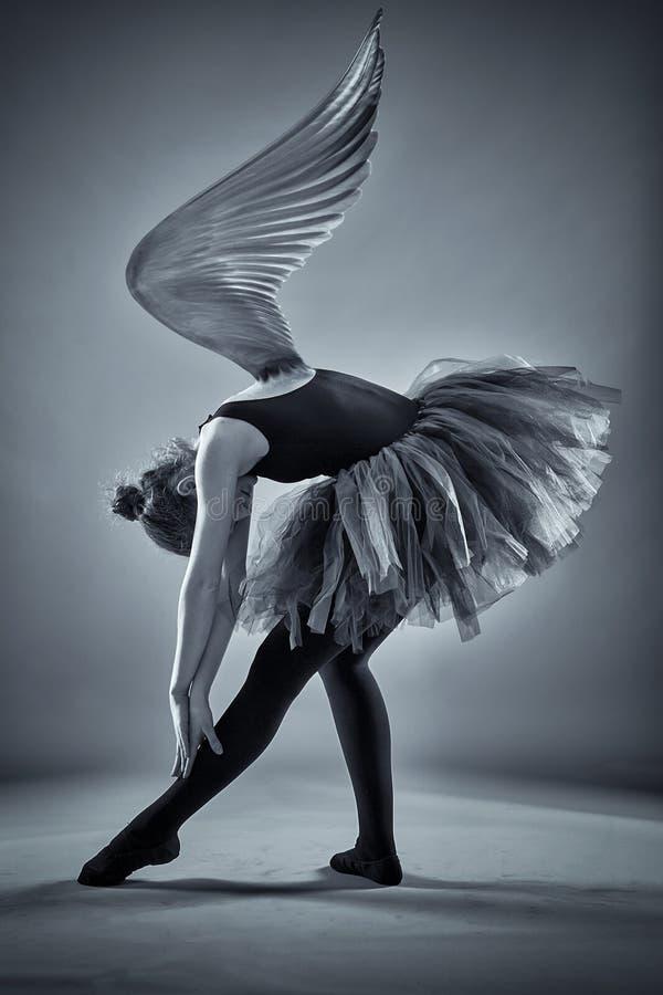 Gevleugelde ballerina in zwart-wit stock fotografie