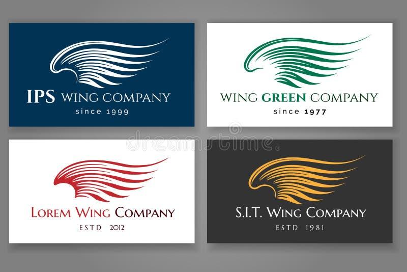 Gevleugelde de kaartreeks van het embleembedrijf Vector bedrijfsetiket met vleugel stock illustratie
