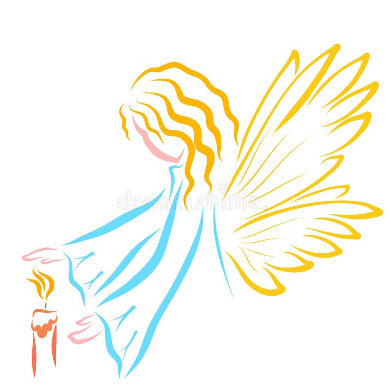 Gevleugelde Engel of Fee en de Kaars royalty-vrije illustratie