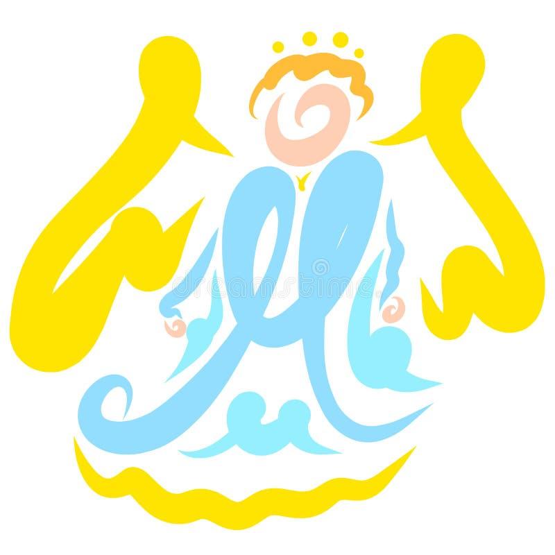 Gevleugelde Engel met een halo lucht, abstract patroon royalty-vrije illustratie