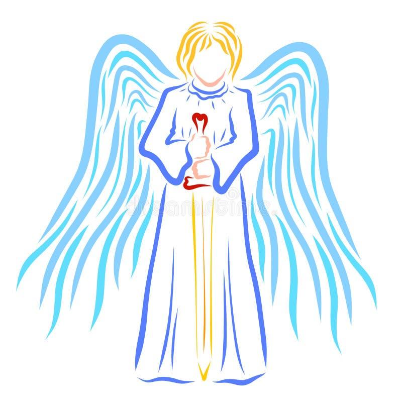 Gevleugelde Engel met een zwaard in zijn handen royalty-vrije illustratie