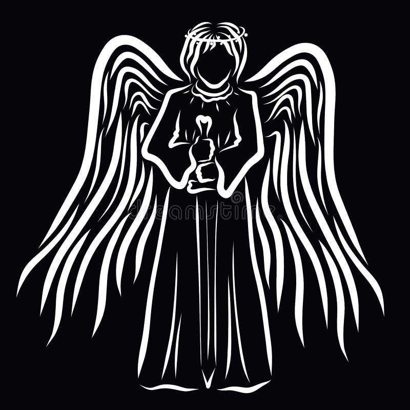 Gevleugelde engel met een zwaard in zijn handen op een zwarte achtergrond stock illustratie