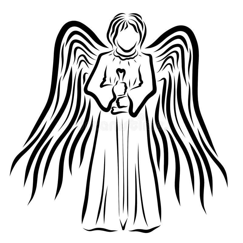 Gevleugelde engel met zwaard, hemelse strijder, patroon vector illustratie