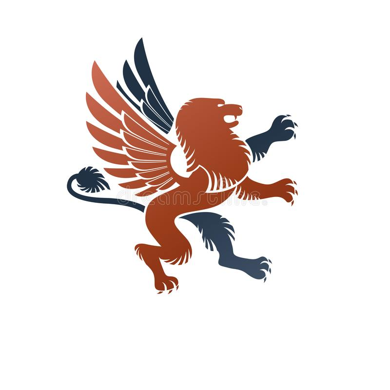 Gevleugelde Gryphon, mythisch dierlijk oud embleemelement heraldic vector illustratie