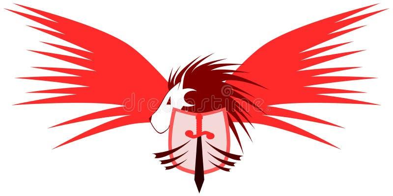 Gevleugelde leeuw met schild en zwaard stock illustratie