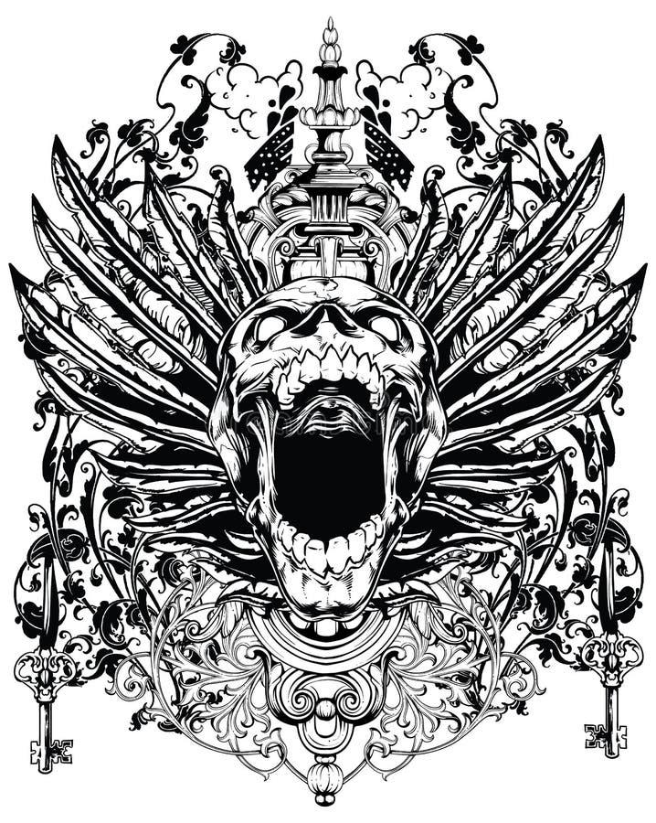 Gevleugelde schedel royalty-vrije illustratie