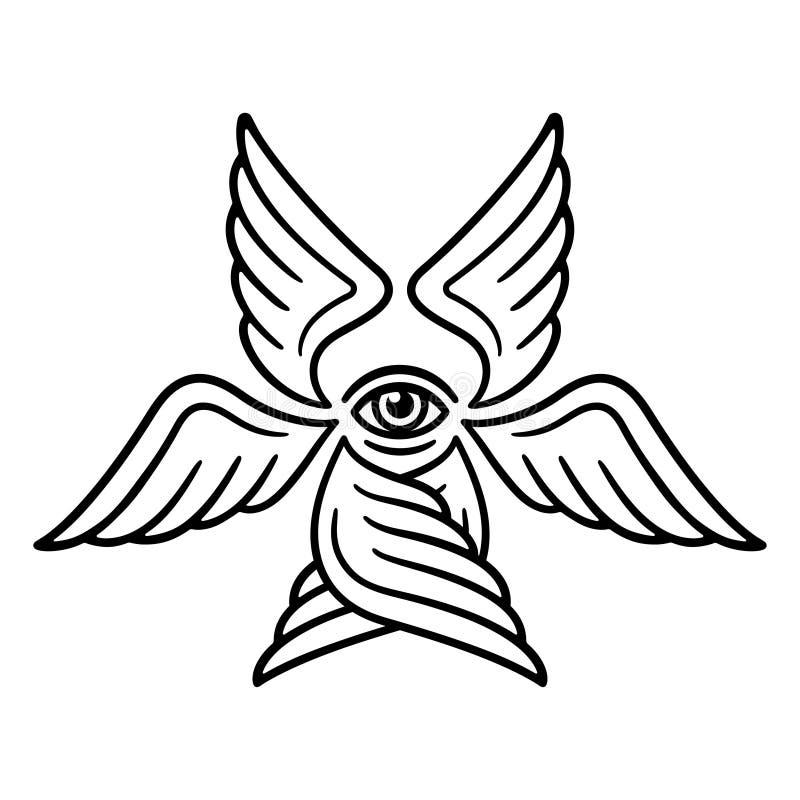 Gevleugelde Serafijn zes royalty-vrije illustratie