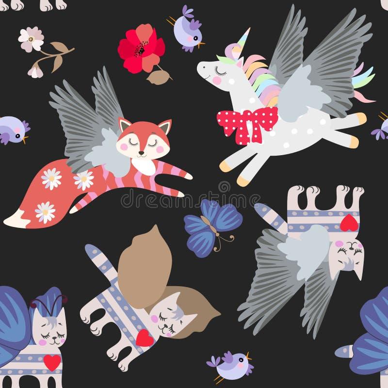Gevleugelde vos, kat en eenhoorn, bloemen, vogels en vlinders die op zwart naadloos patroon als achtergrond voor jonge geitjes wo stock illustratie