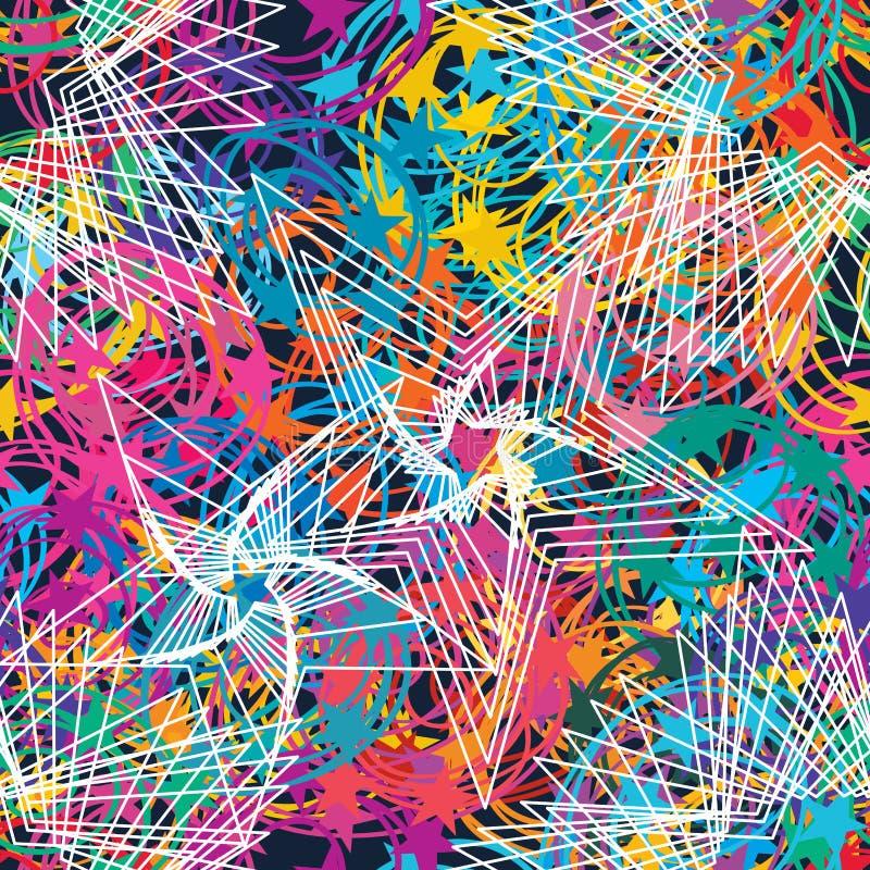 Gevoel van de ster van de cirkellijn rond naadloos patroon royalty-vrije illustratie