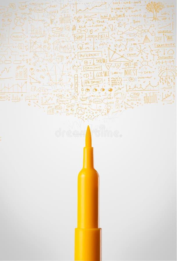 Gevoeld penclose-up met diagrammen royalty-vrije stock foto's