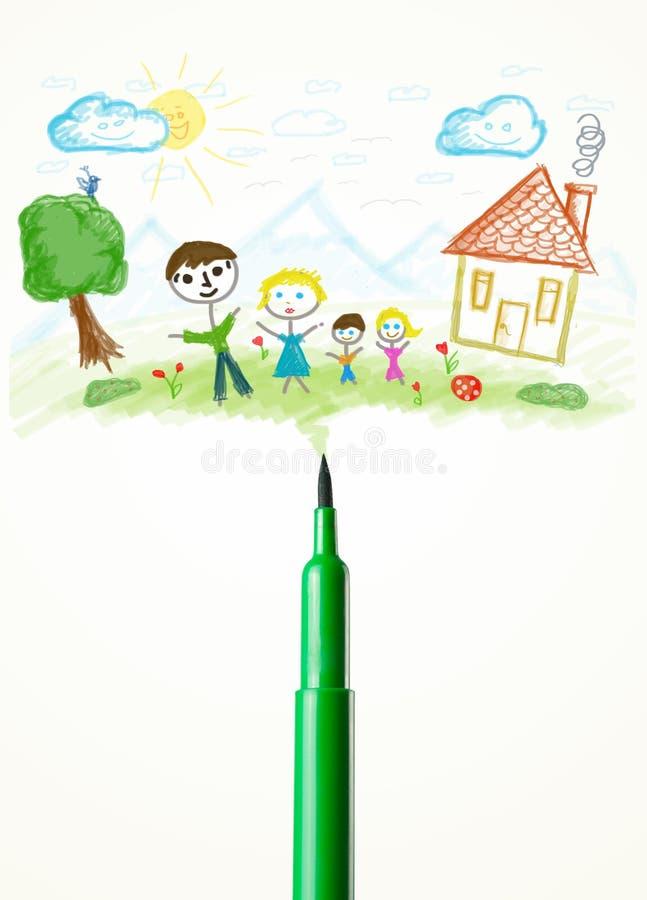 Gevoeld penclose-up met een tekening van een familie stock afbeelding