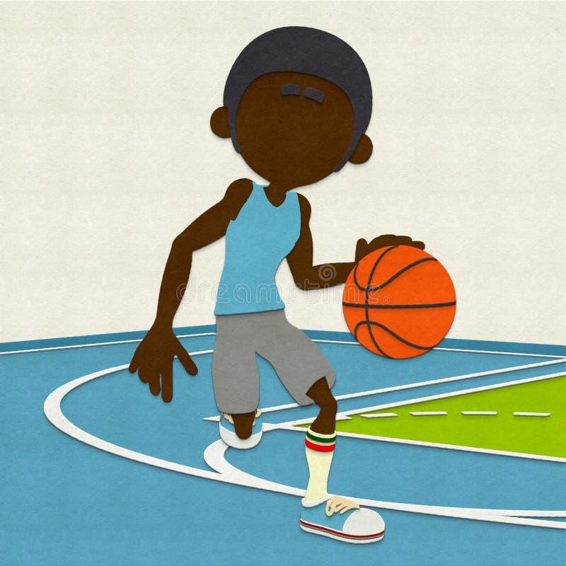 Gevoelde Basketbalspeler die op Hof druppelen royalty-vrije illustratie