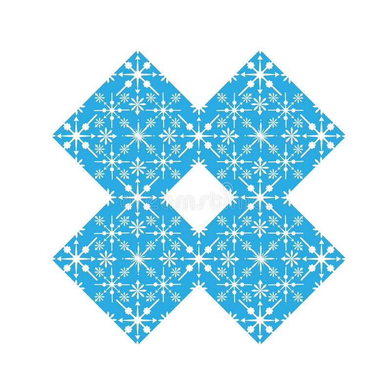 Gevoelig digitaal blauw sneeuwvlokontwerp royalty-vrije illustratie