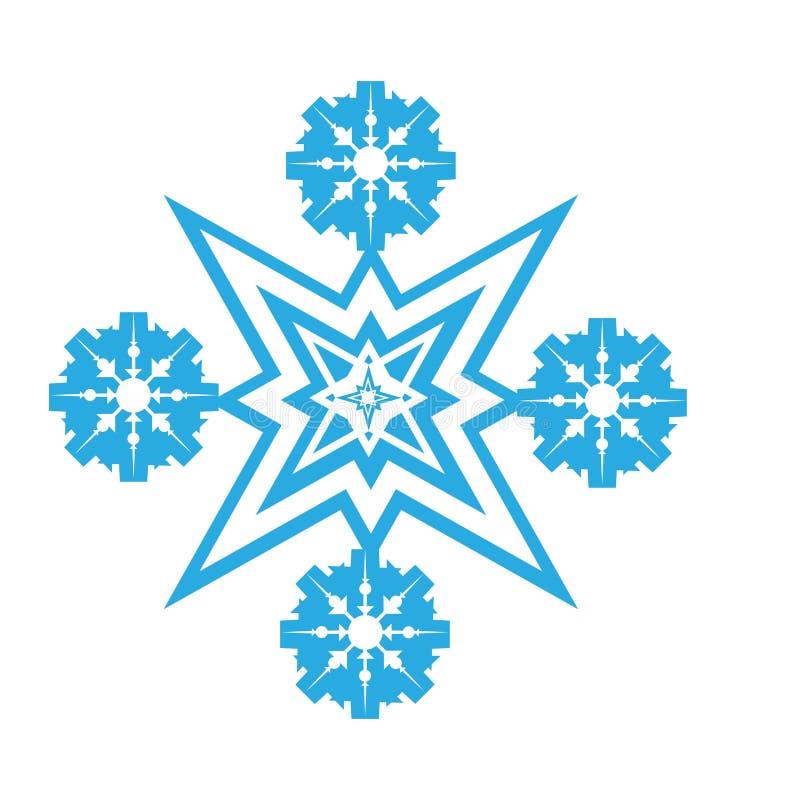 Gevoelig digitaal blauw sneeuwvlokontwerp vector illustratie