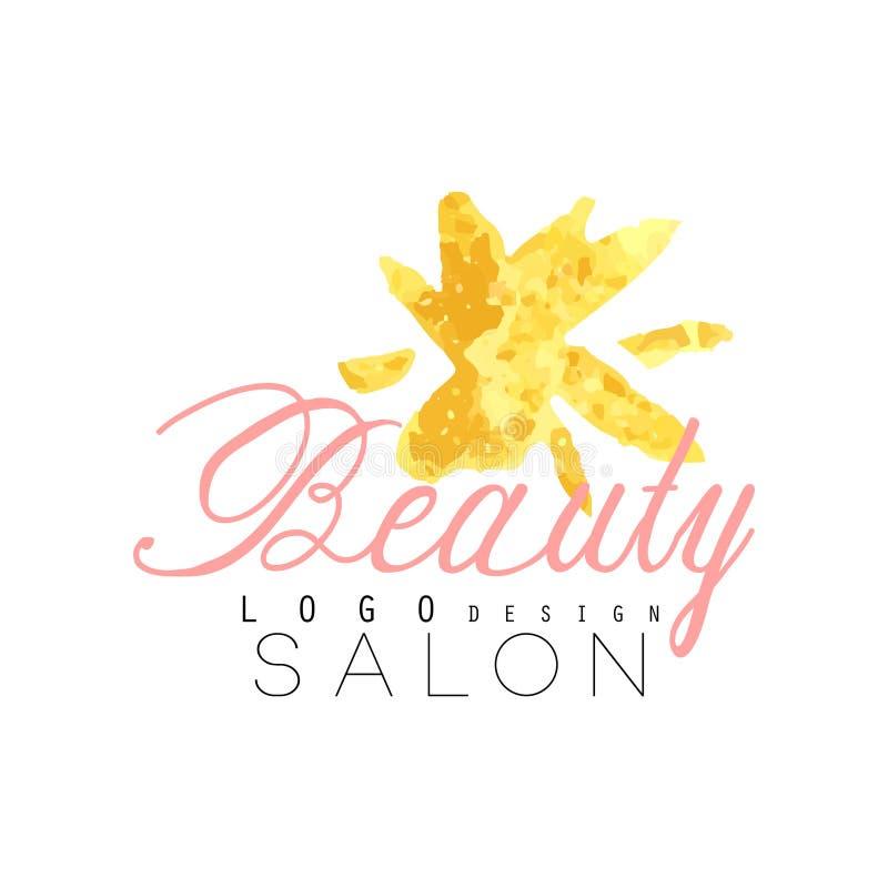 Gevoelig embleem origineel ontwerp voor schoonheidssalon of centrum met abstracte gouden bloem Etiket met zachte kleuren vector illustratie