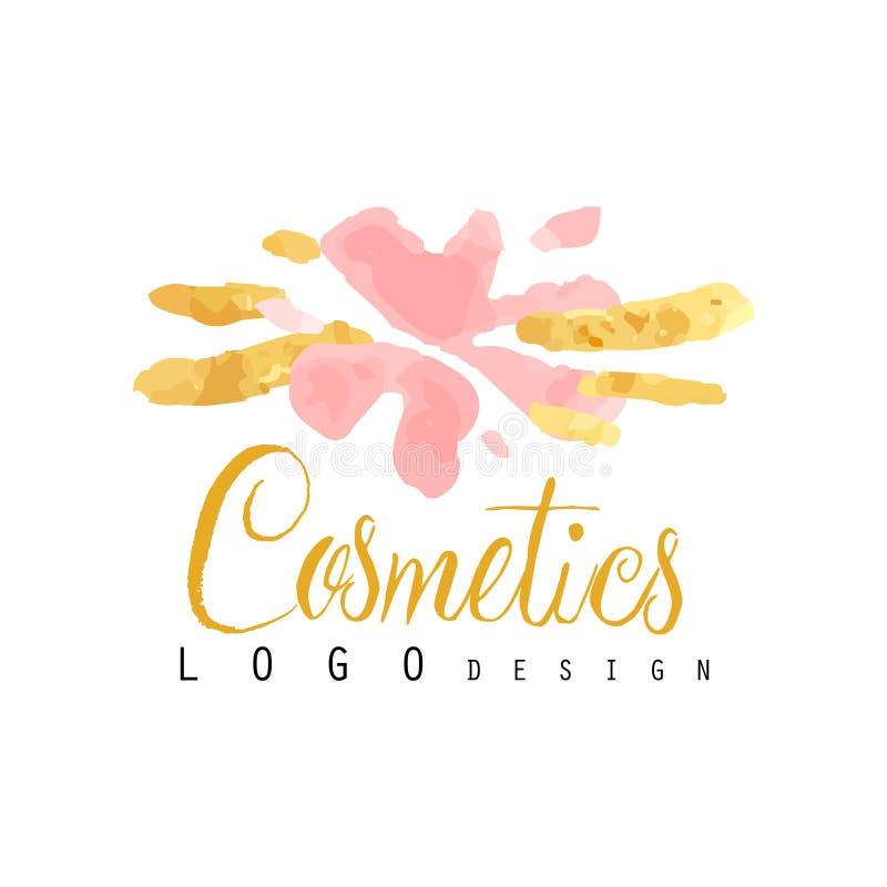 Gevoelig embleemontwerp voor schoonheidsmiddelenwinkel of boutique Maakt de hand getrokken vectorillustratie voor omhoog kunstena stock illustratie
