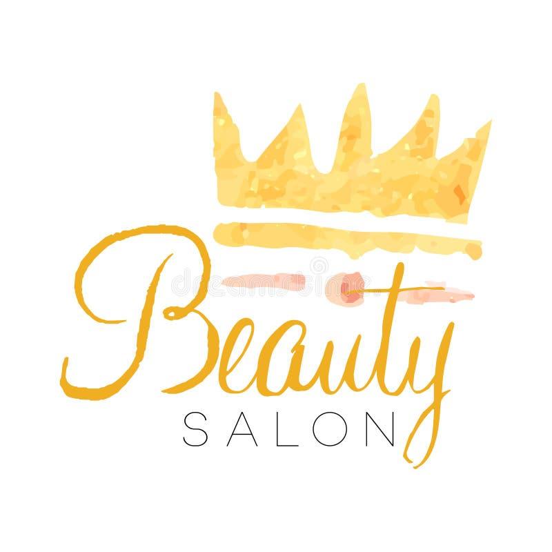 Gevoelig gouden het embleemontwerp van de schoonheidssalon met kroon Geweven etiket met zachte kleuren Vrouwelijk vectorembleem vector illustratie